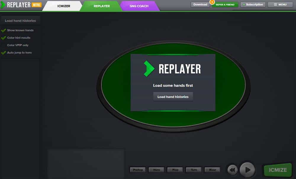 ICIMIZER poker hand replayer