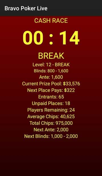 bravo poker live app tournament clock