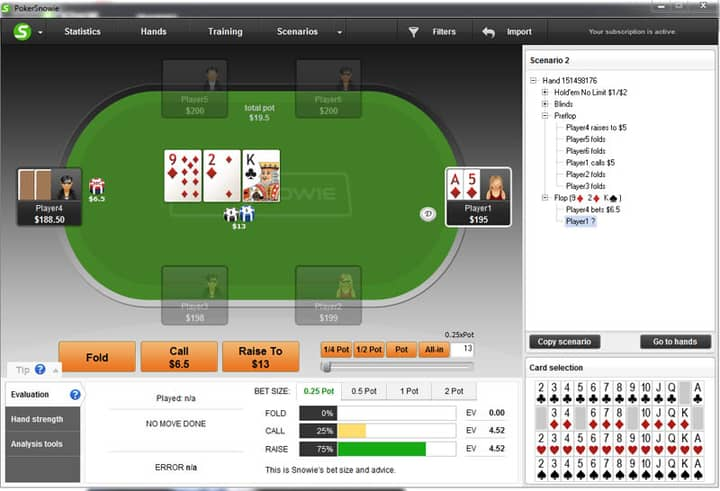 flush poker draw in position