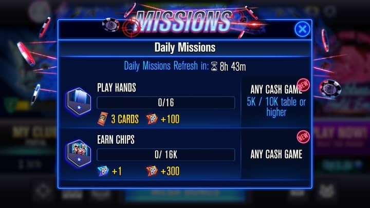 free chips for WSOP daily missions